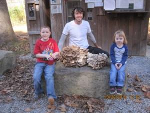 Two Sheephead Mushrooms with Mushroom Hunter with two Mushroom Hunter Apprentices
